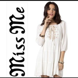 Miss Me Front & Center Embroidered Dress
